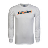White Long Sleeve T Shirt-Cal State Fullerton