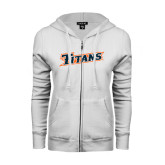 ENZA Ladies White Fleece Full Zip Hoodie-Primary Logo