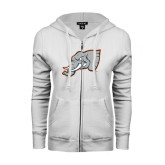 ENZA Ladies White Fleece Full Zip Hoodie-Alternate Head