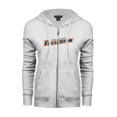 ENZA Ladies White Fleece Full Zip Hoodie-Cal State Fullerton