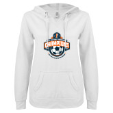 ENZA Ladies White V Notch Raw Edge Fleece Hoodie-2017 Big West Mens Soccer Champions