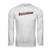 Performance White Longsleeve Shirt-Cal State Fullerton
