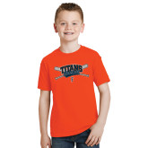 Youth Orange T Shirt-Baseball Crossed Bats