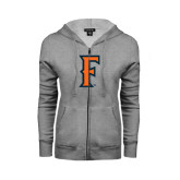 ENZA Ladies Grey Fleece Full Zip Hoodie-F