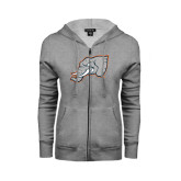 ENZA Ladies Grey Fleece Full Zip Hoodie-Alternate Head