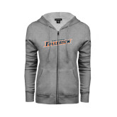 ENZA Ladies Grey Fleece Full Zip Hoodie-Cal State Fullerton