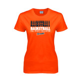 Ladies Orange T Shirt-Basketball Repeating