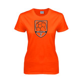 Ladies Orange T Shirt-Soccer Shield