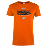 Ladies Orange T Shirt-2018 Mens Basketball Champions - Brush
