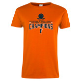 Ladies Orange T Shirt-2018 Mens Basketball Champions - Net w/ Basketball