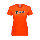 Ladies Orange T Shirt-Primary Logo Distressed
