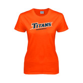 Ladies Orange T Shirt-Baseball