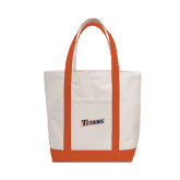 Contender White/Orange Canvas Tote-Primary Logo