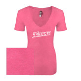 Next Level Ladies Vintage Pink Tri Blend V-Neck Tee-Primary Logo