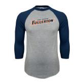 Grey/Navy Raglan Baseball T Shirt-Cal State Fullerton