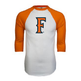 White/Orange Raglan Baseball T Shirt-F