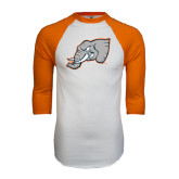 White/Orange Raglan Baseball T Shirt-Alternate Head