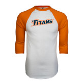 White/Orange Raglan Baseball T Shirt-Primary Logo Distressed