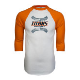 White/Orange Raglan Baseball T Shirt-Baseball Sideway Seams
