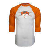 White/Orange Raglan Baseball T Shirt-Baseball Crossed Bats