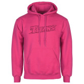 Fuchsia Fleece Hoodie-Primary Logo Hot Pink Glitter