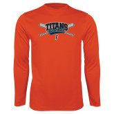 Performance Orange Longsleeve Shirt-Baseball Crossed Bats