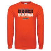 Orange Long Sleeve T Shirt-Basketball Repeating