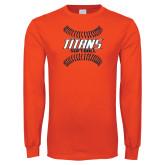 Orange Long Sleeve T Shirt-Softball Sideway Seams
