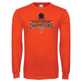 Orange Long Sleeve T Shirt-2018 Mens Basketball Champions - Net w/ Basketball