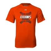 Under Armour Orange Tech Tee-Baseball Sideway Seams