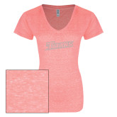 ENZA Ladies Coral Melange V Neck Tee-Primary Logo White Soft Glitter
