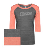 ENZA Ladies Dark Heather/Coral Vintage Triblend Baseball Tee-Primary Logo White Soft Glitter