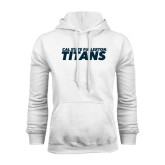 White Fleece Hoodie-Cal State Fullerton Titans Stacked