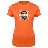 Ladies Syntrel Performance Orange Tee-Big West 2018 Baseball Champions