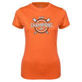 Ladies Syntrel Performance Orange Tee-Big West 2018 Softball Champions