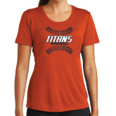 Ladies Syntrel Performance Orange Tee-Baseball Sideway Seams