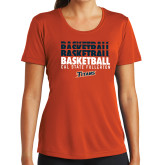 Ladies Syntrel Performance Orange Tee-Basketball Repeating