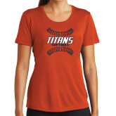 Ladies Syntrel Performance Orange Tee-Softball Sideway Seams