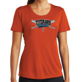 Ladies Syntrel Performance Orange Tee-Baseball Crossed Bats