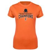 Ladies Syntrel Performance Orange Tee-2018 Mens Basketball Champions - Net w/ Basketball
