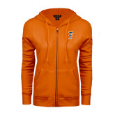 ENZA Ladies Orange Fleece Full Zip Hoodie-F
