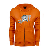 ENZA Ladies Orange Fleece Full Zip Hoodie-Alternate Head