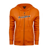 ENZA Ladies Orange Fleece Full Zip Hoodie-Cal State Fullerton