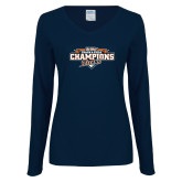 Ladies Navy Long Sleeve V Neck T Shirt-2017 Big West Track & Field Champions