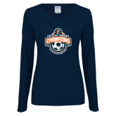 Ladies Navy Long Sleeve V Neck T Shirt-2017 Big West Womens Soccer Champions