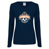 Ladies Navy Long Sleeve V Neck T Shirt-2017 Big West Mens Soccer Champions