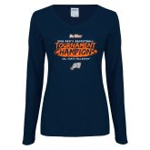 Ladies Navy Long Sleeve V Neck T Shirt-2018 Mens Basketball Champions - Brush
