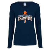 Ladies Navy Long Sleeve V Neck T Shirt-2018 Mens Basketball Champions - Net w/ Basketball