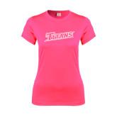 Ladies Performance Hot Pink Tee-Primary Logo