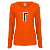 Ladies Orange Long Sleeve V Neck T Shirt-F